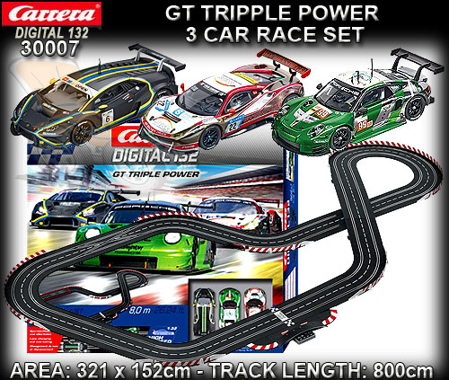 CARRERA DIGITAL 132 SET 30007 - GT Triple Power - 8.0m / 3 cars