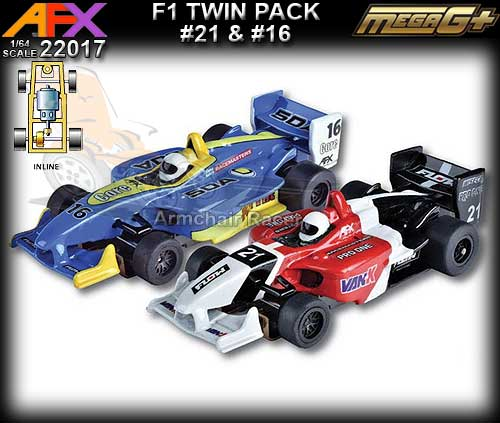 AFX HO 22017 - 2 x F1 - #21 Black, White, Red & #16 Blue, Yellow