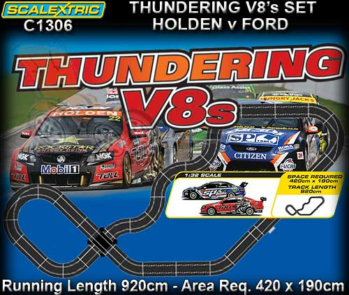 Scalextric C13Thundering V8s Slot Car Set at Hobby Warehouse