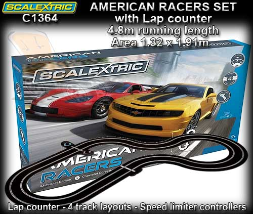 SCALEXTRIC SPORT SET C1364 - AMERICAN RACER - Track 4.84m