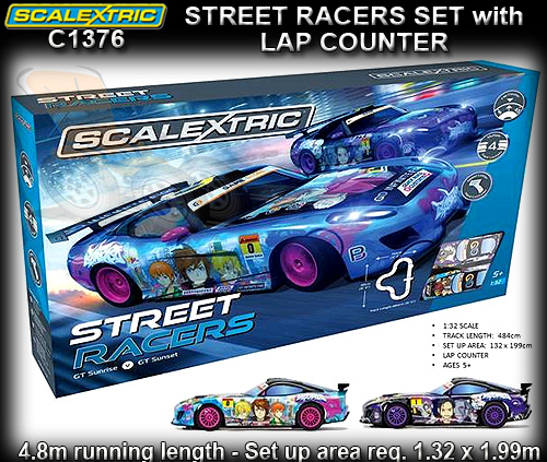 SCALEXTRIC SPORT SET C1376 - STREET RACERS - Track 4.84m