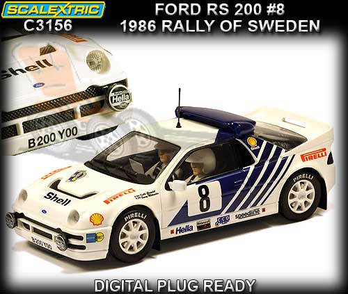 SCALEXTRIC C3156 - Ford RS200 1986 Rally of Sweden #8