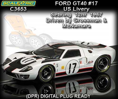 SCALEXTRIC C3653 - Ford GT40 #17 1967 Sebring 12 hour