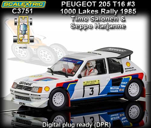 SCALEXTRIC C3751 - Peugeot 205 T16 #3 1000 Lakes Rally 1985