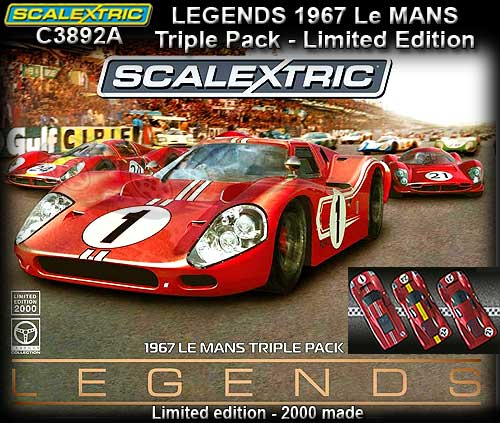 SCALEXTRIC C3892A - Legends 1967 Le Mans 50 years triple pack