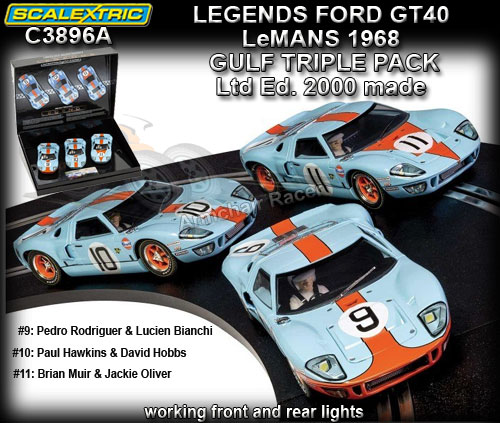 SCALEXTRIC C3896A - Ford GT40 Le Mans 1968 Gulf - 3 car pack
