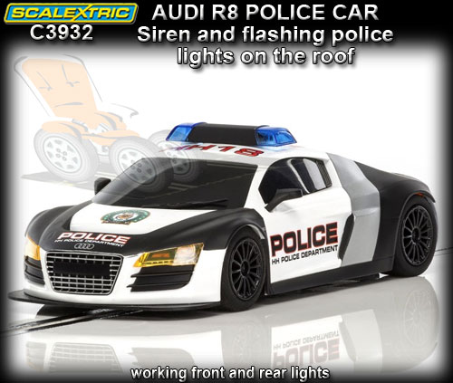 SCALEXTRIC C3932 - Audi R8 - Police Car with siren & roof lights