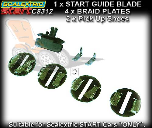 SCALEXTRIC GUIDE C8312 - START Guide Blade & Braid Plates