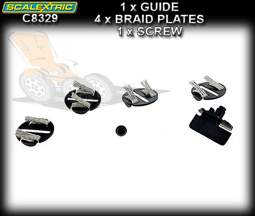 SCALEXTRIC GUIDE C8329 - 1 x Round guide & 4 x Braid Plates