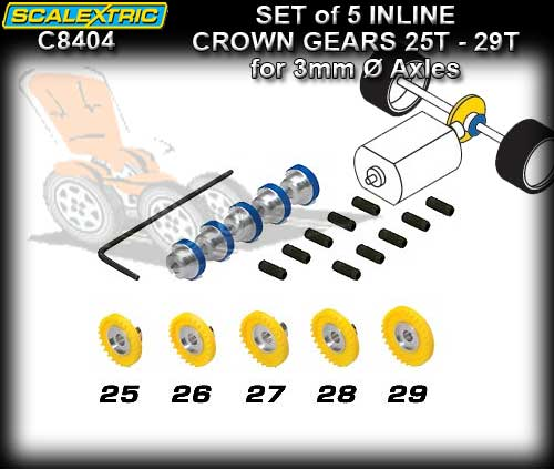 SCALEXTRIC CROWN GEAR C8404 - ProParts Set of 5 Inline Gears