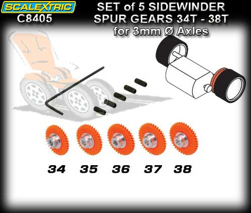 SCALEXTRIC SPUR GEAR C8405 - ProParts Set of 5 Sidewinder Gears