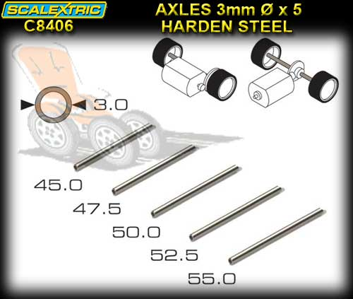 SCALEXTRIC AXLES C8406 - Pro Parts 5 Lengths Hardened axles 3mm