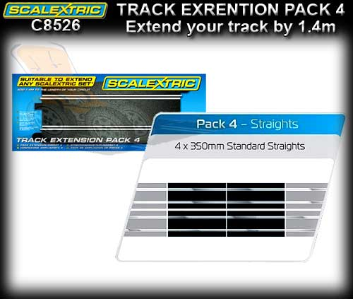 SCALEXTRIC TRACK C8526 - Extension Pack 2 - 350mm Straights x 4
