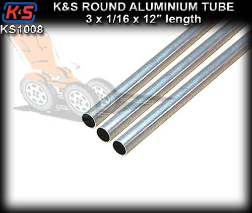 "KS1008 - Aluminium Tube 1/16"" x 12"" x 3 pieces"