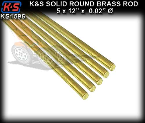 "KS1596 - K&S Round Brass Rod 12"" x 0.02"" x 5 peices"
