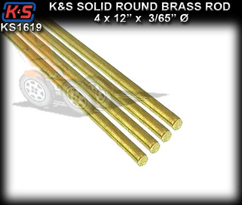 "KS1619 - K&S Round Brass Rod 12"" x 3/65"" x 4 pieces"