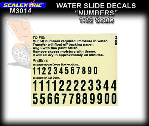 SCALEXTRIC DECALS M3014 - 1:32 Scale Decals NUMBERS