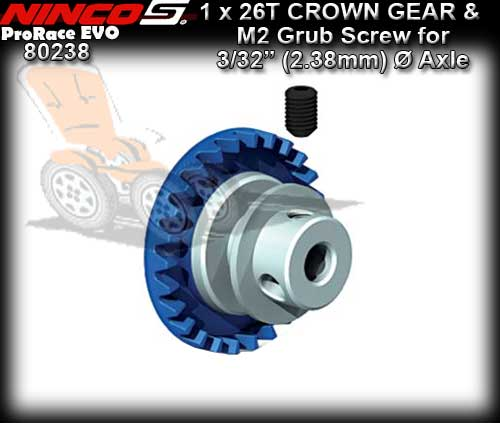 NINCO CROWN GEAR 80238 - 26T Inline gear for 3/32 dia axle