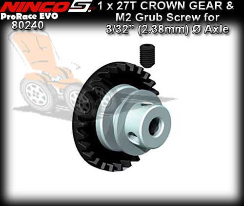 NINCO CROWN GEAR 80240 - 27T Inline gear for 3/32 dia axle