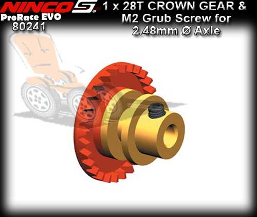 NINCO CROWN GEAR 80241 - 28T Inline gear for 2.48mm dia axle