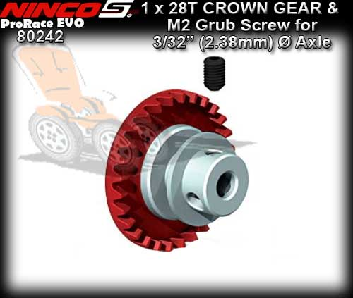 NINCO CROWN GEAR 80242 - 28t Inline gear for 3/32 dia axle