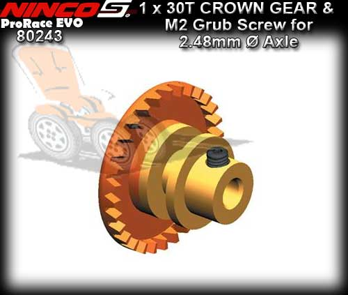 NINCO CROWN GEAR 80243 - 30T Inline gear for 2.48mm dia axle
