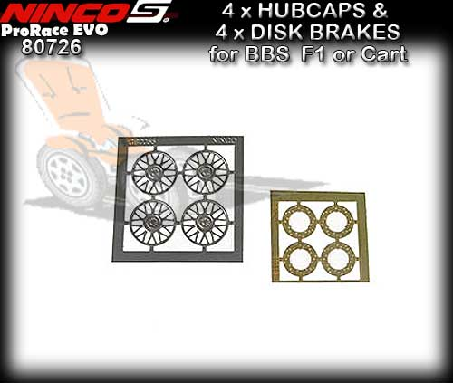 NINCO WHEEL INSERT 80726 - 4 x Hubcaps & Disk brakes F1/Carts
