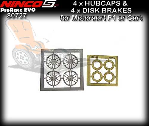 NINCO WHEEL INSERT 80727 - 4 x Hubcaps & Disk brakes F1/Carts