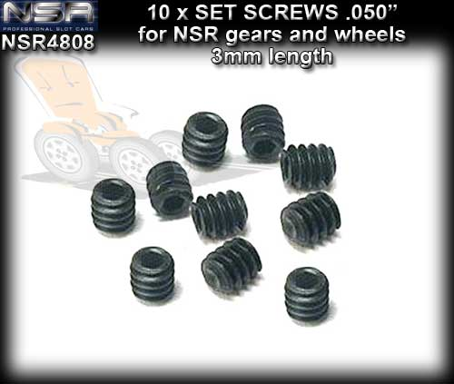 "NSR SCREWS 4808 - 4 x 0.5"" M2.5 1.27mm Grub Screws"