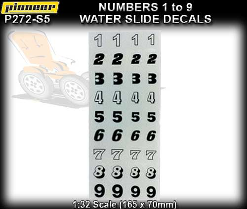 PIONEER STICKERS P272-S5 - 1 sheet of racing numbers - 1 to 9