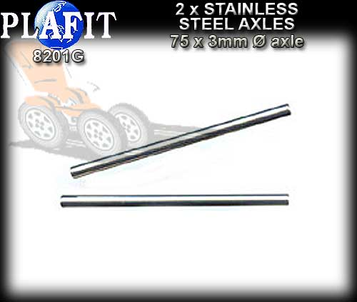 PLAFIT AXLE 8221G - 75mm x 3mm dia Stanless Steel Axle