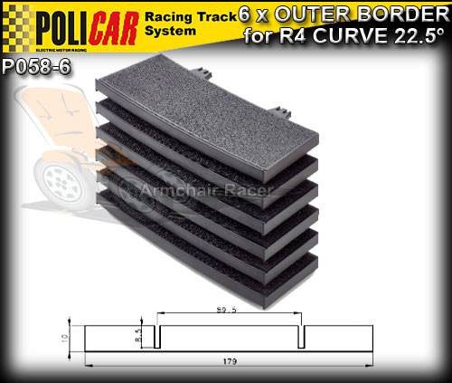 POLICAR TRACK P058-6 - 6 x R3 Outer Curve Borders