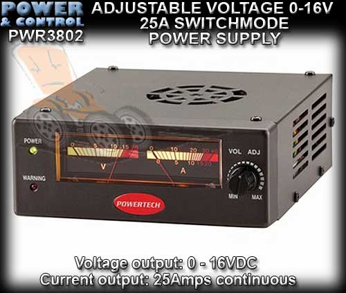 VARIABLE VOLTAGE POWER SUPPLY PWR-MP3802 - 25amp 0-16 vdc
