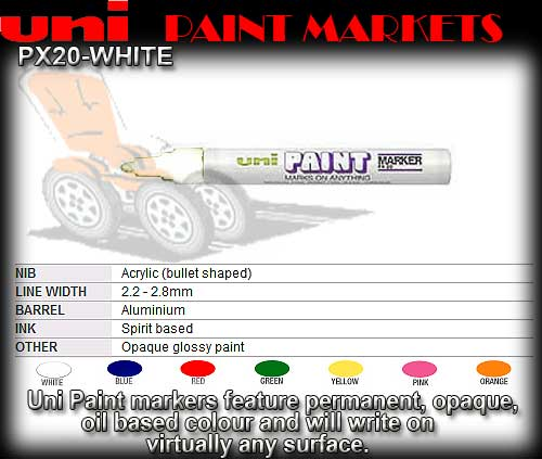 PAINT PEN PX20 WHITE - Medium Oil Paint Marker