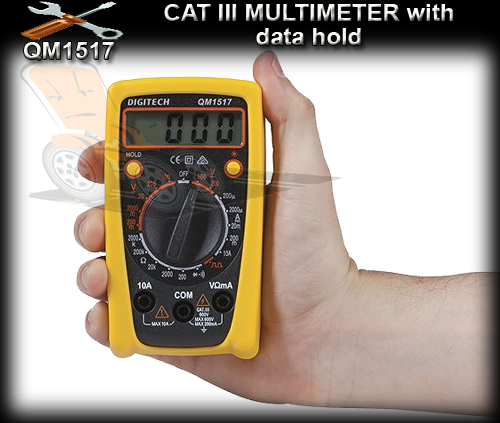 MULTIMETER QM1517 - Economy Digital Multimeter with Data Hold