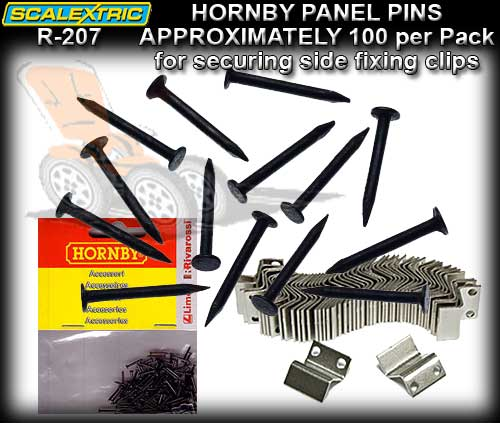SCALEXTRIC TRACK PINS R207 - Panel Pins for side fixing clips