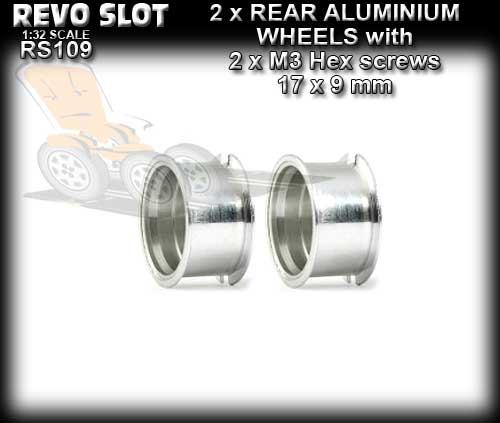 REVO SLOT WHEELS RS109 - 2 x Aluminum Rear wheels 14.6 x 9.2mm