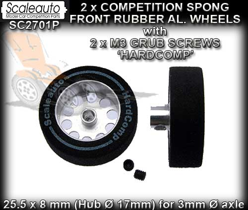 SCALEAUTO WHEELS SC2701P - Aluminium HardComp Sponge Wheel x 2.