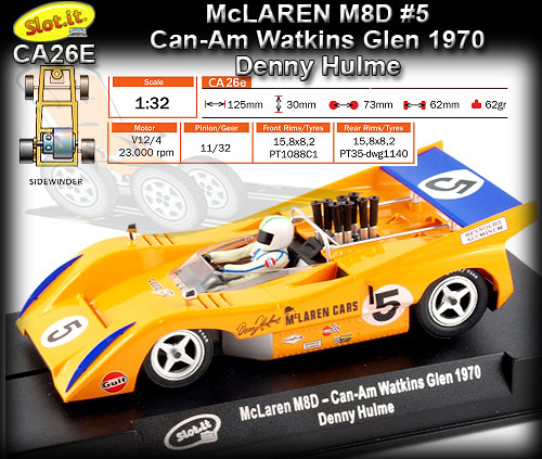 SLOT.IT CA26E - McLaren M8D - winner Can-Am Watkins Glen 1970 #5