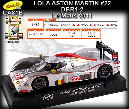 SLOT.IT CA31B - Lola Aston Martin DBR1-2 - 24hr Le Mans 2011 #22
