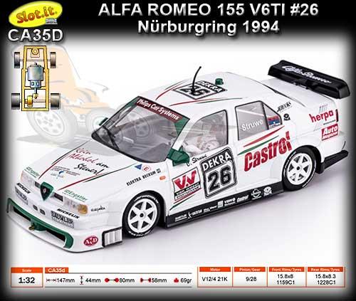 Spielzeug 720h Artin Slot Alfa Romeo 155 Racing # 7