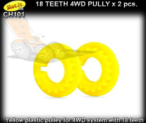 SLOT.IT 4WD PARTS CH101 - 2 x 18 tooth 4WD pulley