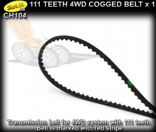 SLOT.IT 4WD PARTS CH104 - 111 teeth 4WD cogged belt