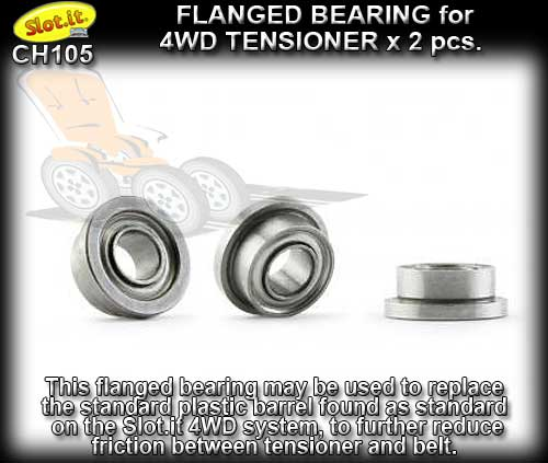 SLOT.IT 4WD PARTS CH105 - 2 x flanged bearings for 4WD tensioner