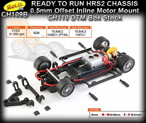SLOT.IT RTR CHASSIS CH109B - HRS2 Chassis 0.5mm Inline Offset