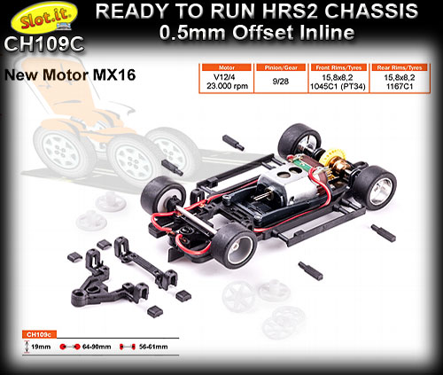 SLOT.IT RTR CHASSIS CH109C - HRS2 Chassis 0.5mm Inline Offset