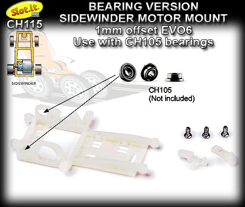 SLOT.IT MOTOR MOUNT CH115 - Sidewinder -1.0 mm offset EVO6
