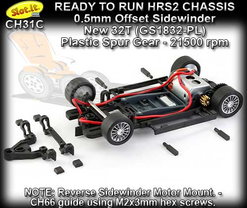SLOT.IT RTR CHASSIS CH31C - HRS/2 Chassis Sidewinder 0.5 offset