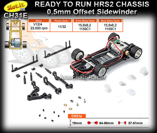 SLOT.IT RTR CHASSIS CH31E - HRS/2 Chassis Sidewinder 0.5 offset