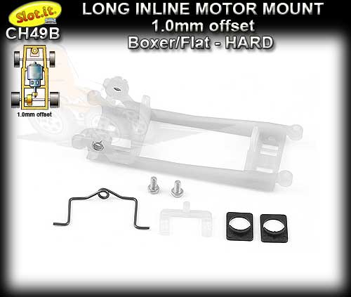 SLOT.IT MOTOR MOUNT CH49B - Long Inline offset 1.0mm Boxer/Flat